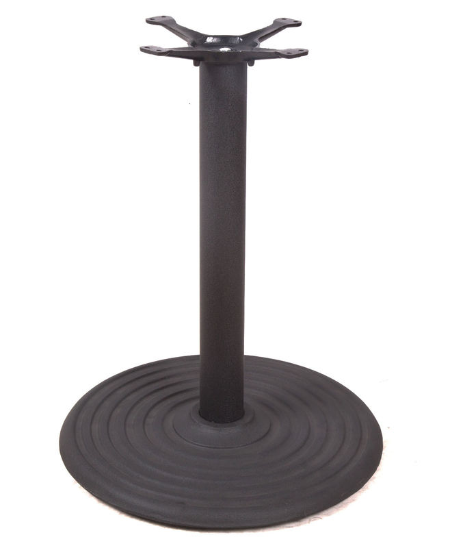 Restaurant Dining Table Legs / Cast Iron Round Table Base Black Wrinkle Powder Coating